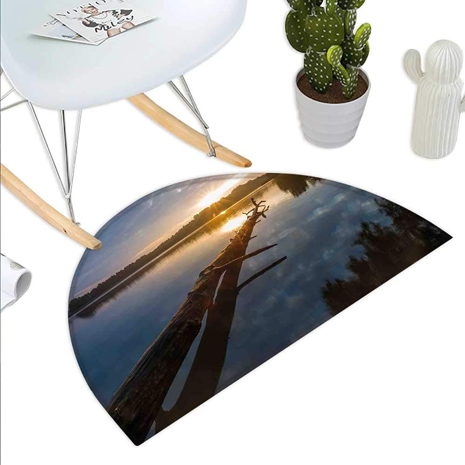 Driftwood Semicircle Doormat Natural Theme Landscape of Driftwood and Lake in Poland a Sunny Summer Day Halfmoon doormats H 43.3  xD 64.9  bluee Grey Yellow