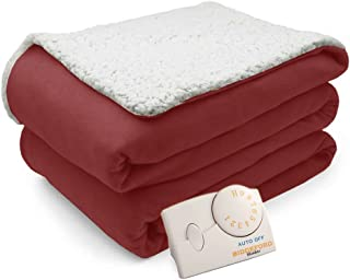 Pure Warmth Comfort Knit Natural Sherpa Electric Heated Blanket Twin Brick