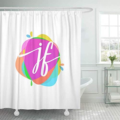 NJMRZX Duschvorhang ABC Buchstabe JF bunte Spritzer Kombination für kreative Industrie Duschvorhänge Sets mit 12 Haken 183 x 198 cm wasserdichtes Polyestergewebe