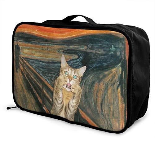 rtuuruyuy Portable Luggage Duffel Borsa Oil Cat Travel Borsas Carry-on In Trolley Handle