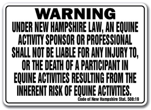 NEW HAMPSHIRE Equine Sign activity liability warning statute horse barn stable