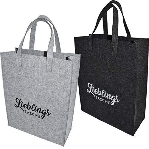 CREOFANT 2er Set Filztasche Einkaufstasche · Stofftasche Einkaufen · Shopping Bag Lieblingstasche · Shopper · Beutel aus Filz · Schultertasche (2er Set: Dunkelgrau und Hellgrau)