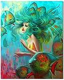 Bougimal Pintar por Numeros Adultos, DIY Pintura por números Sirena sin Marco de 40 X 50 cm