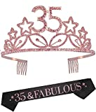 35th Birthday Gifts for Women, 35th Birthday Tiara and Sash, Happy 35th Birthday Party Supplies, Dirty 35 Glitter Satin Sash and Crystal Tiara, 35th Birthday Party Decorations