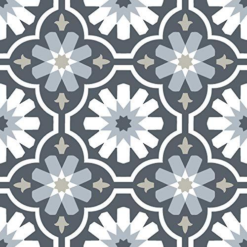 FloorPops FP2944 Sevilla Peel & Stick Floor Tiles, Grey