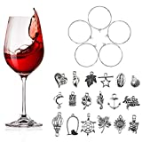 100Pcs Wine Glass Charms Set Silver Wine Glass Barware Charm Rings Tags Earring Hoops Assorted Wine Glass Charms Pendants Personalized Glass Markers for Wedding, Party, Jewellery Making
