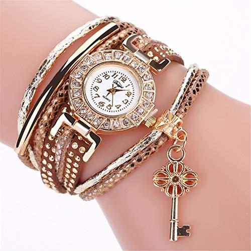 MUKEE Uhren für Frauen Rundes kleines Zifferblatt Diamant-Ring Armband Quarzuhr mit Schlüsselanhänger,Braun