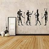 Stickers Muraux Pour Chambres D'Enfants Noir Égyptien Culturel Décoration Antique Egypte Dieux Autocollant Mural Egyptien Ornement Anubis Ra Seth Apis Wall Art Stickers