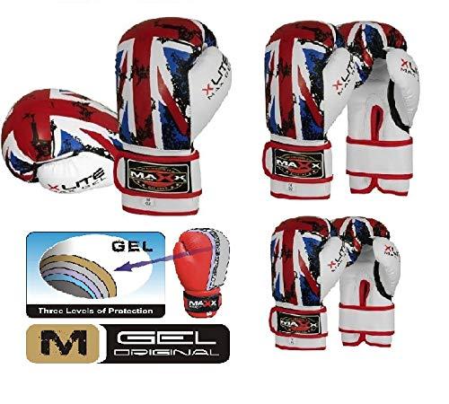 Maxx bandera de Reino Unido adultos guantes de boxeo (piel, 283,5g Rex–16oz, 45,5 cl