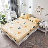 GUANLIDE Bett Laken,Spannbetttücher aus Baumwolle, Doppelbett aus flachem Laken, Tagesdecke aus Köper für den Schlafsaal für Mädchen, Schlafzimmer Hellgelb, 150 * 200 cm, Einteilige Matratze