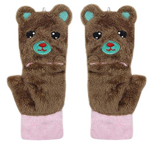 Niedliche Katzen-Bär-Handschuhe aus Plüsch, zum Aufklappen, fingerlos, warm, für den Winter, weiche Fäustlinge für Mädchen und Teenager - Beige - Einheitsgröße