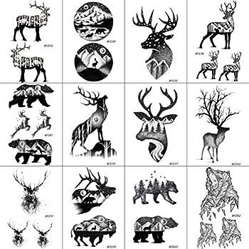 12 Pieces/Lot Black Elk Horn Little Waterproof Fake Tattoos Stickers For Men Women Arm Temporary Tatoos Moose Deer Hands Bear Fake Tattoo Paste Supplies 10x6cm