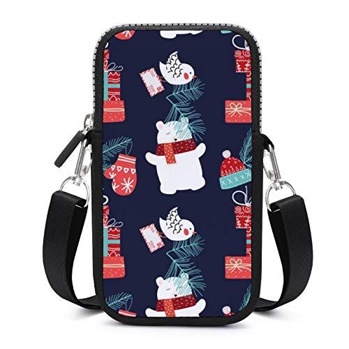 Bolso bandolera para teléfono celular, con correa de hombro extraíble, oso de Navidad con sombrero, bolsa impermeable para teléfono, brazalete cartera, bolsas de yoga para mujer