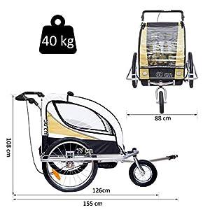 HOMCOM Remolque para Bicicleta tipo Carro con Barra de Paseo para Niños de 2 Plazas con Rueda Delantera Giratoria 360° y Asiento Acolchado Carga Máx. 40kg (Amarillo)