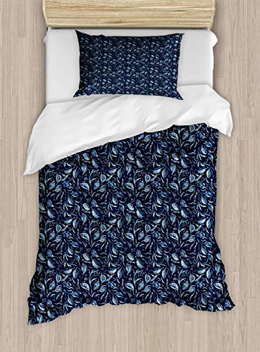 Scott397House Botanical Single Bedding Duvet Cover 2 Piece, Continuous Pattern with Leafy Branches, Soft Bedding Protects Set with 1 Comforter Cover 1 Pillowcase, Single Size, Night Blue Sky Blue