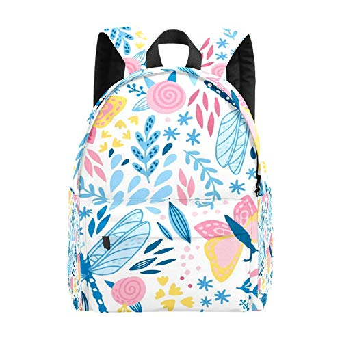 Backpack Boy Girl Daypack,Insects and Flowers Pattern Kids Backpack School Bookbag Travel Bag Casual Rucksack Gift