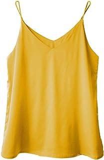 eadf3d4b5b552 Wantschun Womens Silk Satin Camisole Cami Plain Strappy Vest Top T-Shirt  Blouse Tank Shirt