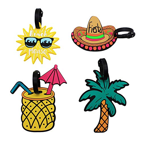 Mziart Unique Luggage Tags Set of 4 Cute Summer Beach Holiday Travel Suitcase Bag Identify Baggage Label