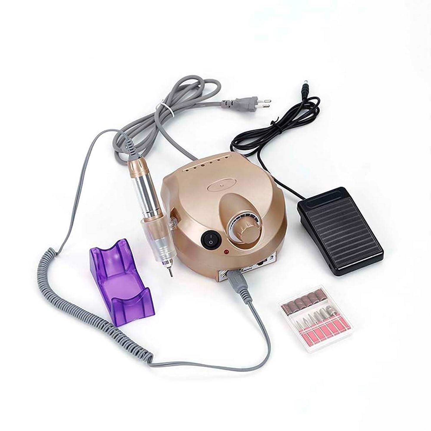 適合朝食を食べるアラート電動ドリルファイル機セット30ワット30000 rpmプロの研磨機ペディキュアとマニキュアセットネイルサロンツール,Gold