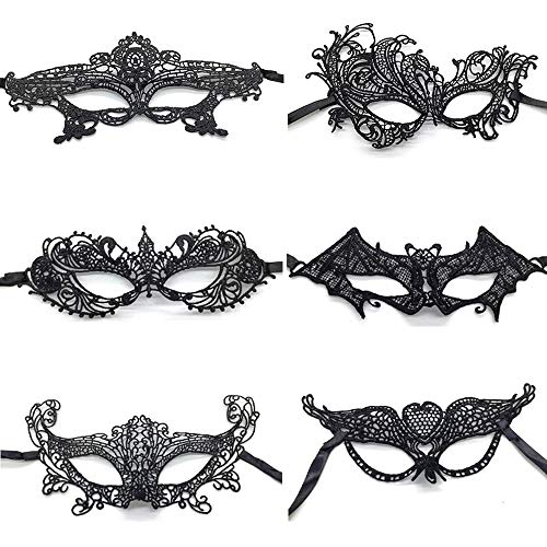 Xinlie 6 Stück Maske Wählbar Gothic Maskerade Gesichtsmasken Venezianische faschingsmasken Venetian Gesichtsmaske Lace Mask Venezianische Maske Cosplay Halloween Costume Party Maskerade Maske(6Stück )