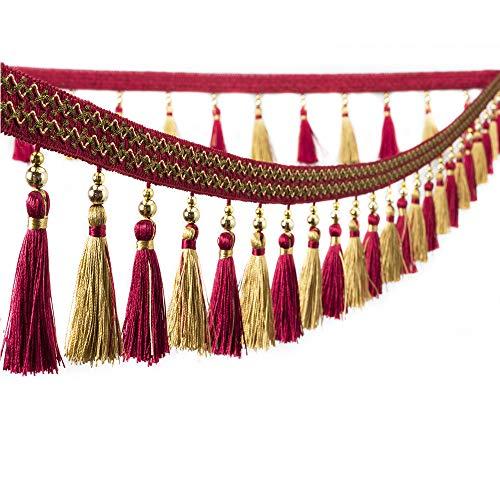 Tassel Fringe Hanging Ball Trim Braided Ribbon Curtain Trimming Lantern Trimming 3yards (red)