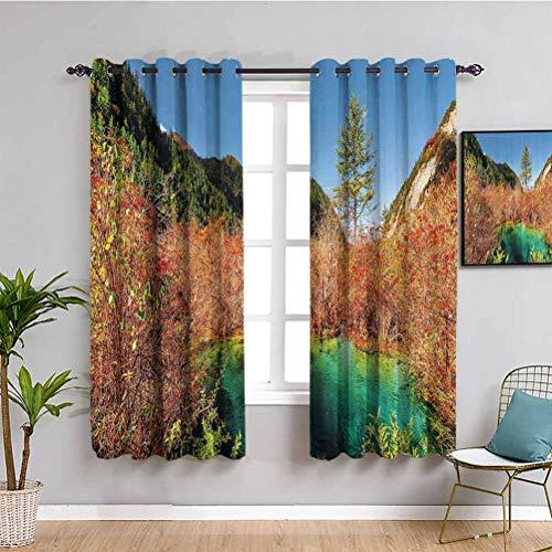Decoración de la naturaleza bonita cortina idílica paisaje de otoño con un arroyo entre el bosque en el parque nacional Valley arte repetible, uso verde ámbar W63 x L72 pulgadas