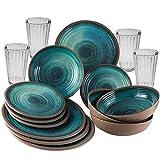 Melamin Geschirrset für 4 Personen Ton Optik blau grün + 4 Gläser 450 ml - 16 teilig - Campinggeschirr - Trinkglas - Kristall Wasserglas stabil bruchsicher - leicht abwaschbar - 16 Teile - Camping Set