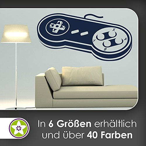 KIWISTAR Retro Controller - Oldschool Gamepad SNES Muursticker in 6 maten - Muursticker Wall Sticker 80 x 40 cm 70, zwart