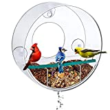 Birdious Circular Window Bird Feeder with Strong Suction Cups and Removable Tray: Watch Wild Backyard Birds from Your House- Clear, See Through, Large Birdfeeder for Outside- Best Gift Idea