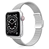 Jomoq Slim Bands Compatible with Apple Watch 38mm 40mm 42mm 44mm, Stainless Steel Mesh Metal Slim Thin Replacement Wristbands Compatible for iWatch Series 6/5/4/3/2/1 SE Women Girls (Silver 38/40mm)