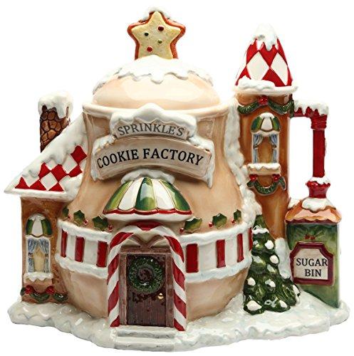 Cosmos Gifts Ceramic Santas Village Cookie Jar 11-34-Inch
