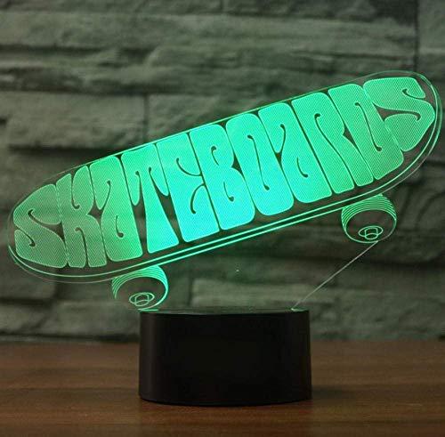 Acryl Skateboard 3D Lampe 7 Farbwechsel Nachtlicht 7 Farblichter LED USB Schreibtisch Tischlampe Atmosphäre Nachtlampe Wohnkultur
