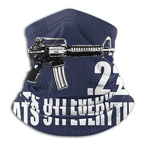 223 Caliber Ar15 M16 Assault Rifle 2nd Amendment Microfiber Neck Warmer Scarf Gaiter Headwear Face Mask Black