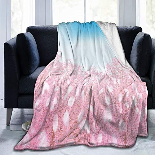 Manta suave y esponjosa, preciosa flor de cerezo con vista de la naturaleza primaveral, súper suave, manta de forro polar, manta para bebé, dormitorio, cama, TV, manta de cama de 152 x 127 cm