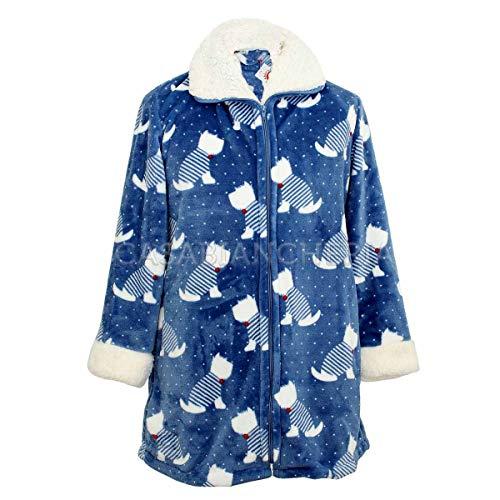 Dunex badjas van superzacht fleece met zakken en ritssluiting. Ronde hals en Giro mouw: synthetische lamsvacht bedrukt pudelmotief