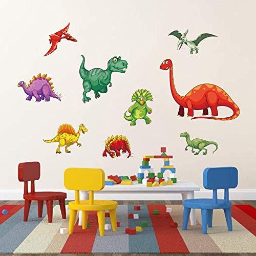 FFVVE Pegatinas de pared de dinosaurios coloridos para niños, decoración de pared para habitación de bebé