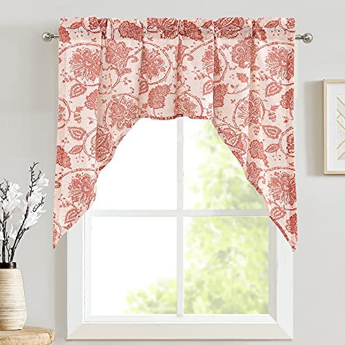 JINCHAN Swag Valance Terrared on Beige Kitchen Window Curtain Linen Print Scroll Jacobean Floral Paisley Medallion Rustic Country Style Living Room Window Treatment 38 inch Long