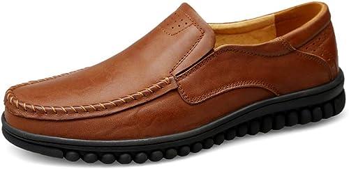 XHD-Chaussures Hommes Mocassins Simples de Conduite Mode décontractée Glissade Glissade Glissade Pratique en Laine Polaire à l'intérieur de la Botte Haute (conventionnel en Option) (Couleur   Marron, Taille   37 EU) 4ec