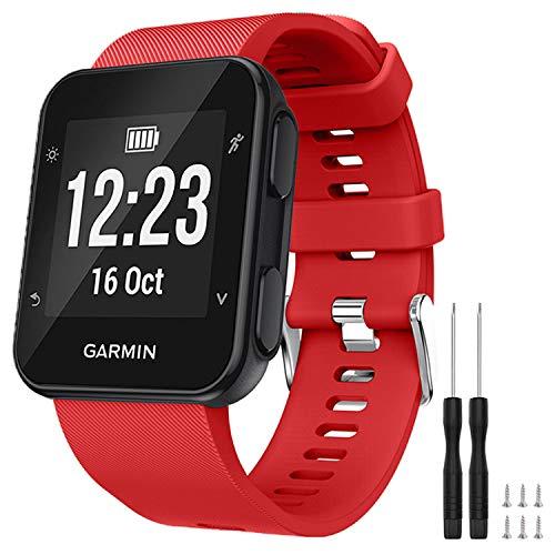 GVFM Cinturino compatibile con Garmin Forerunner 35, cinturino di ricambio in morbido silicone per smartwatch Garmin Forerunner 35, adatto per polsi da 130 a 230 mm, 1- Rosso
