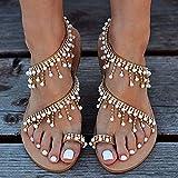 SSFG Sandales Plates à lanières pour Femmes, Perles Bohême Vintage Jeweled Orteil Anneau Sandales Gladiateur Chaussures Romaines Chaussures de Plage