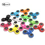 Fidget Hand Spinners 10 PC Color Bundle Bulk EDC Hand Tri-Spinner Desk Toy Stress Anxiety Relief ADHD Adults Student, Relax Therapy, Stress Pack Combo Green Red Black White Blue Yellow Glow Pink Glow