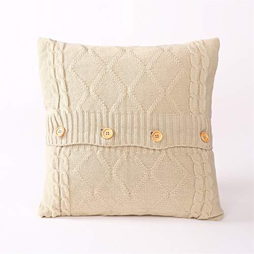H/A Funda de cojín de punto europea y americana con botones cuadrados simples de lana para sofá TOM-EU (color: Beige)