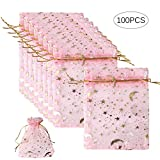 100 Pieces 3.5x4.7Inch Organza Gift Bags, Sheer Pink Organza Favor Bags Moon Star Jewelry Bags Candy Pouch with Drawstring for Wedding Party