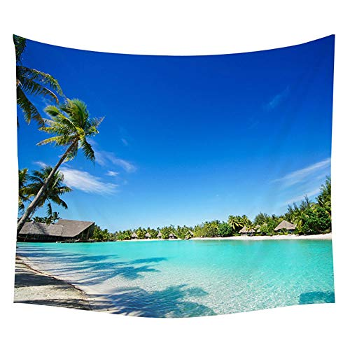 KHKJ Tapiz de Plantas Tropicales Sunset Wall Hanging Waves Picnic Beach Decoración Barco Manta Tapiz de Estrella de mar A6 200x150cm