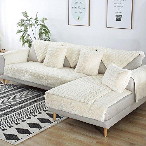FDJKGFHGFCGDFGDG Volle Deckung schonbezug Sofa,Winter Anti-rutsch plüsch sofabezug Rückenlehne zu Decken Moderne schlichtheit Couch abdeckungen Sofabezug für Wohnzimmer -Weiß 110x160cm(43x63inch)