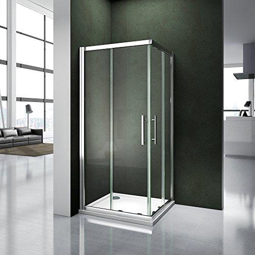 AICA ITALY Cabina doccia trasparente temperato d'angolo scorrevole di cristallo 6 millimetri Altezza: 185 centimetri 76x76cm