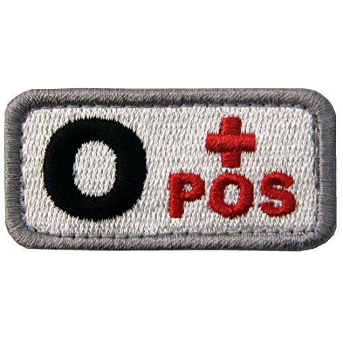 Taktisch Typ O positiv Blutgruppe Emblem Bestickter Aufnäher mit Klettverschluss, Rot schwarz