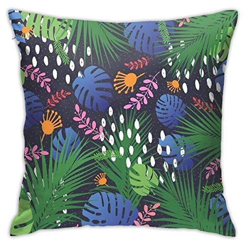N/Q 45X45cm Throw Pillowcase,Style Life Art Jungle Tropical Flower at Night Creative Pattern Square Outdoor Pillowcase Sofa Cover Decorative Cushion Cover, Soft, Used for Car Bed Living Room