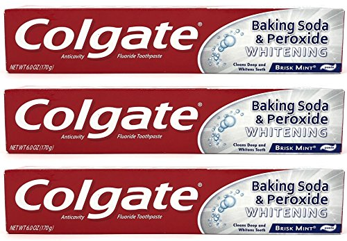 Colgate Baking Soda and Peroxide Whitening Toothpaste, Brisk Mint, 6 oz (Pack of 3)