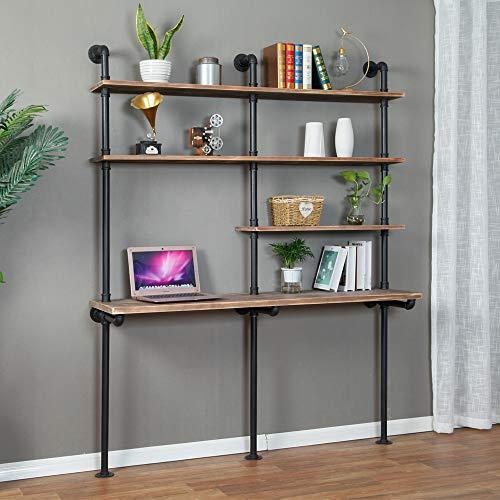 Industrial Style Laptop Desk Solid Wood Computer Desk Storage Table with Shelves Wall Shelf Bookshelf Floating Shelves for Home Office
